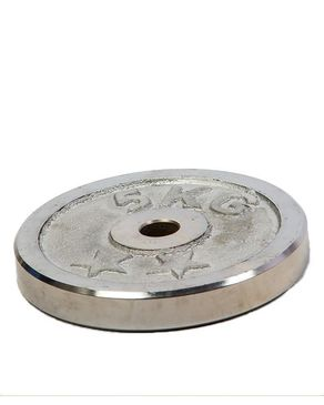 Chrome Single Weight Plate - 5kg - Silver