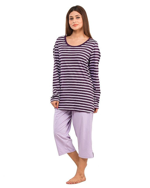 Style and Comfort Purple Cotton Nightwear for Women - LD-6181