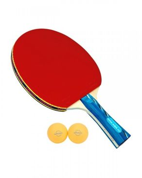 Butterfly Wakaba Racket with 2 Balls - Red & Blue