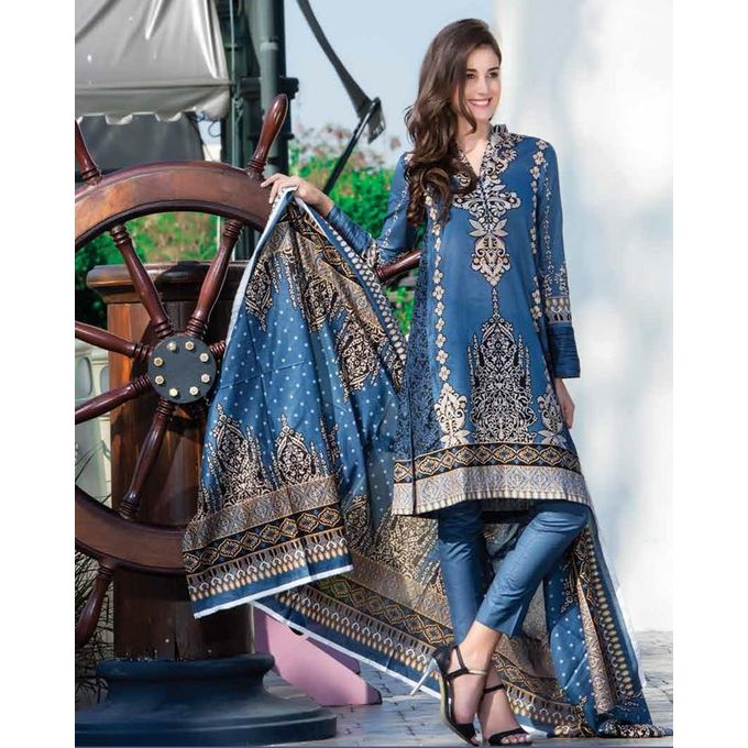 House of Ittehad D.Gray Printed Lawn Ladies Unstitched Shirt LF-CL-2715-17