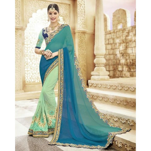 Kalista Blue Georgette Bridal Saree For Women - Kalista-6707