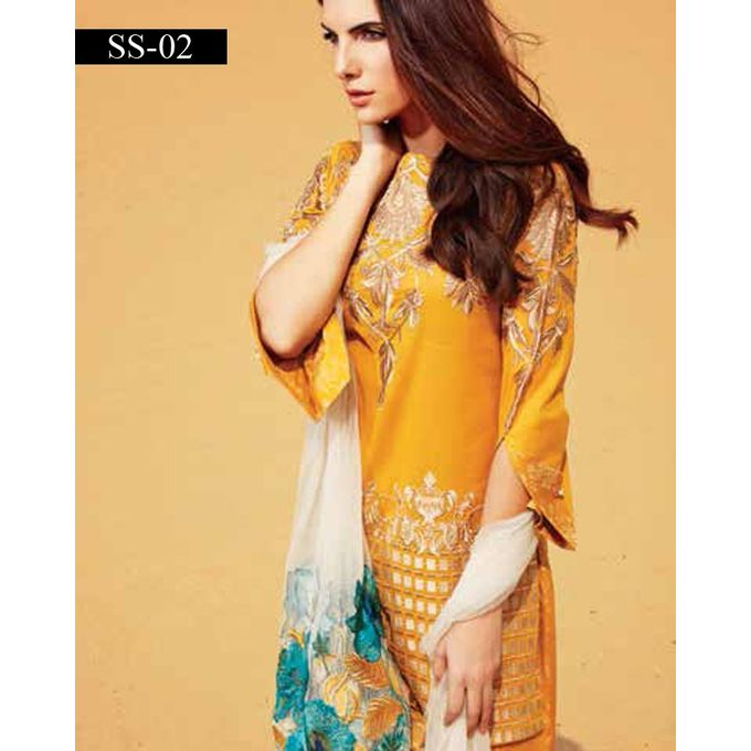 House of Charizma Yellow Swiss With Cotton Trouser Charizma Embroidered Swiss Voil Spring/Summer 2017 Vol 01