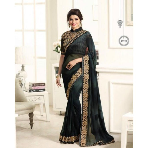 Vinay Fashion Black Georgette Saree with Embroidered Blouse - 17708