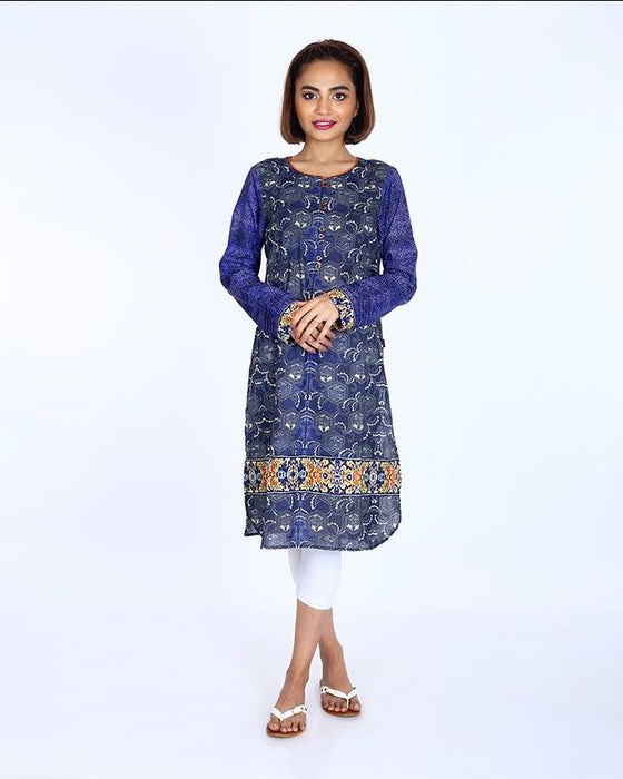 Ego Purple Mix Cotton Black Swan Kurti