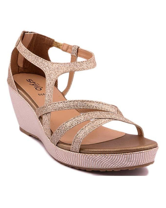 Stylo Shoes Golden Synthetic Leather Sandal For Women - L65656 - US Size