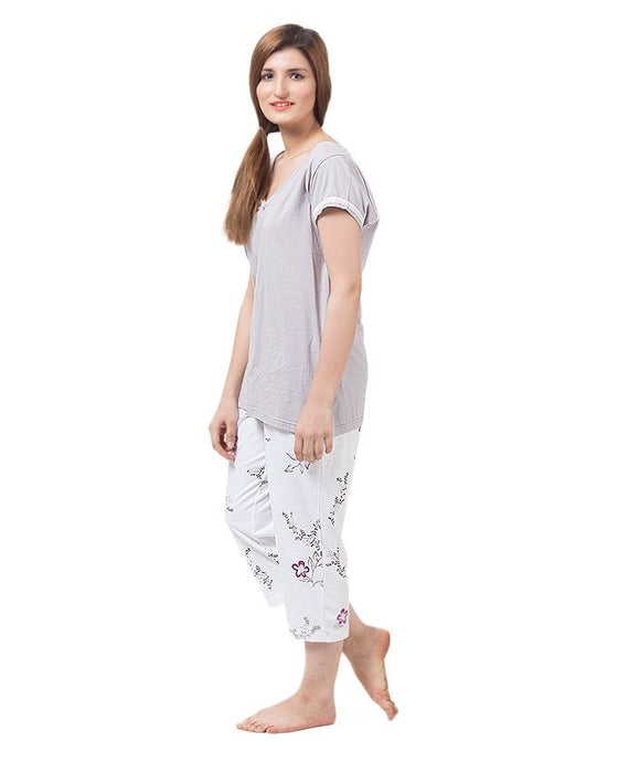 Style and Comfort White & Light Grey Cotton Nightwear for Women - LD-6172