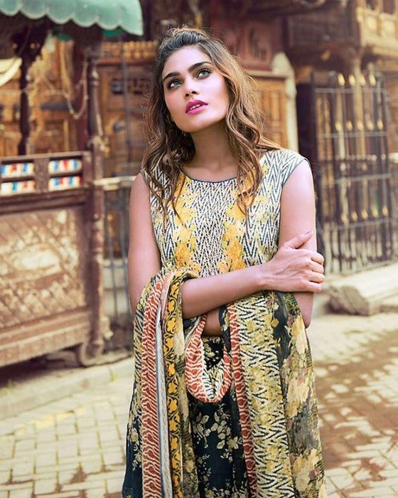 Rangoli Black/Yellow Mid Summer Cotton Florence Cambric 4 piece