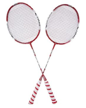 Pack of 2 - Badminton Rackets - White & Red