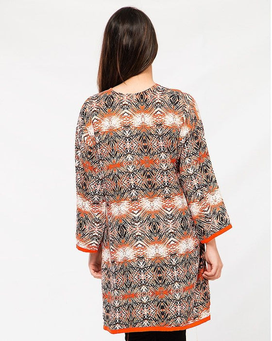 Misbah's Style Orange and Blue Malae Lawn Top For Women