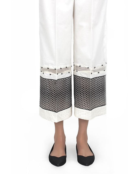 Sapphire White Cotton Pants for Women