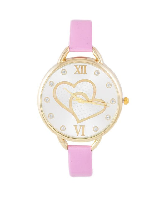 Style and Comfort Pink Leather Heart Dial Watch For Her - LW-2124