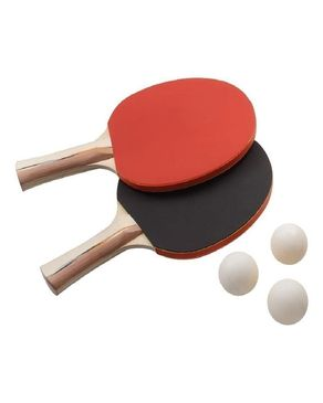 Table Tennis Racket & Balls Set - Red & Black