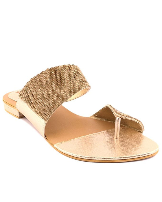 Stylo Shoes Golden Synthetic Leather Toe Loop For Women - L87272 - US Size