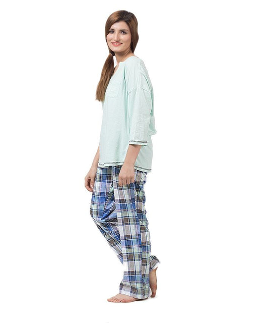 Style and Comfort Pack of 2 - Light Green & Checkered Trouser For Women - LD-6177