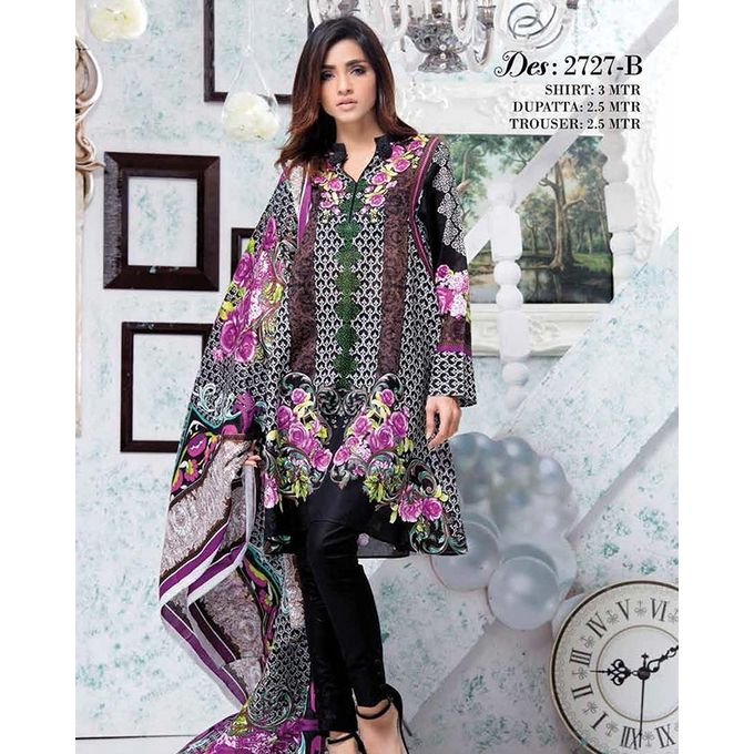 House of Ittehad Black Printed Lawn Ladies Unstitched Suit LF-CL-2727-17