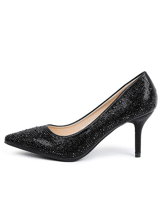 Sapphire Black Faux Leather Heels for Women