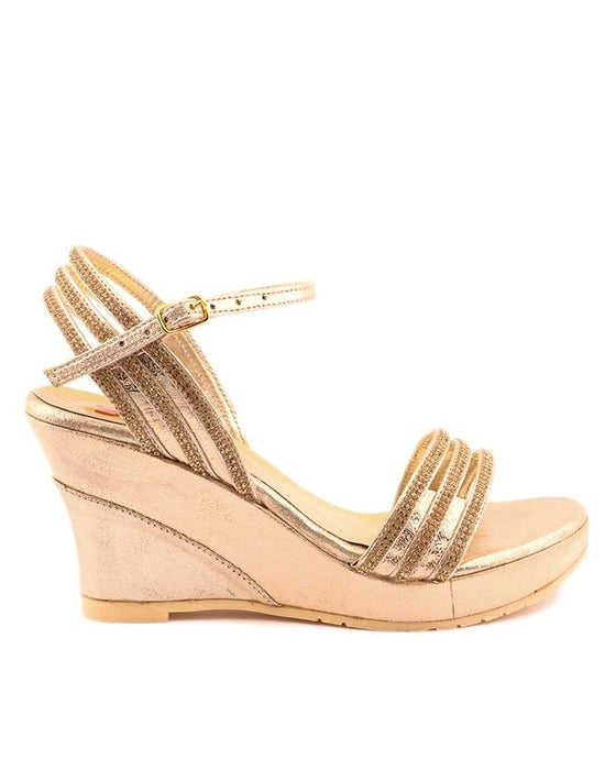 Stylo Shoes L65710 - Golden Color Synthetic Leather Wedge - US Size