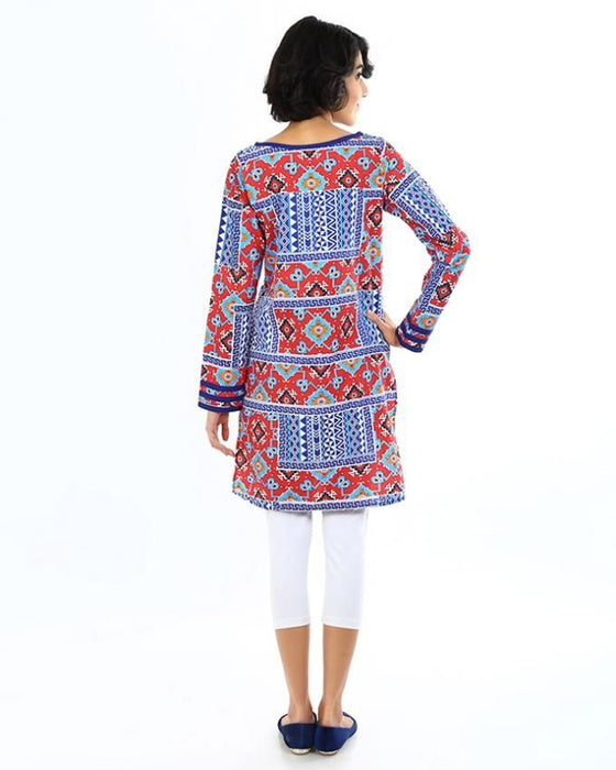 Ego Red Cotton Kaleidoscope Kurti