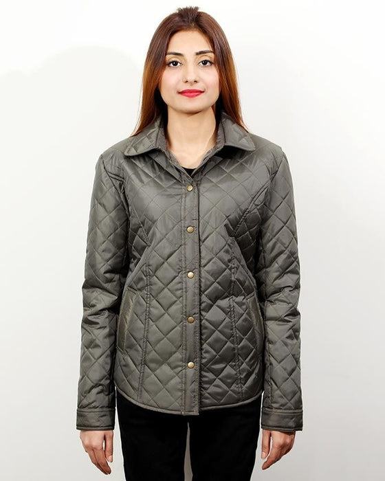 CrossRoads Army Green Mix Cotton Quilted Jacket For Women