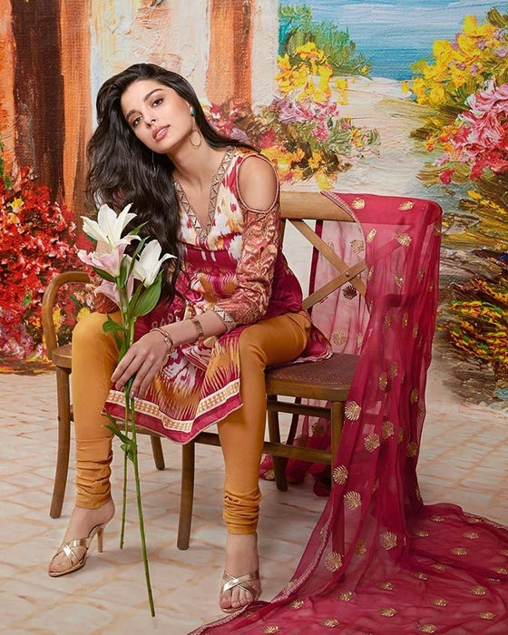 Gul Ahmed Maroon Spring/Summer 2017 Collection  Premium Embroidered-PM # 157