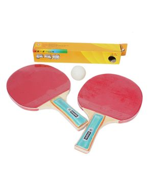 Table Tennis Rackets with Balls - Red