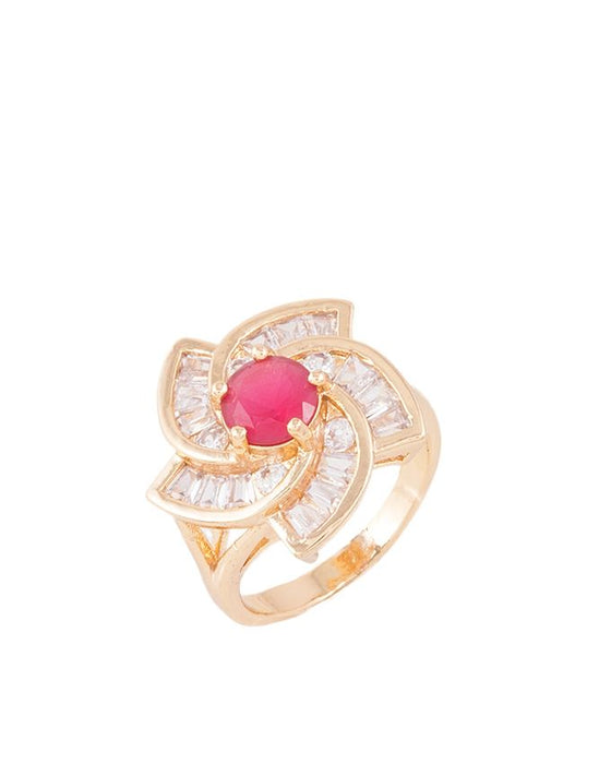 Style and Comfort Golden Metal Zircon Center Ring For Women - R-01