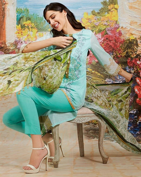 Gul Ahmed Sea Green Spring/Summer 2017 Collection Embroidered La Chiffon-C # 477