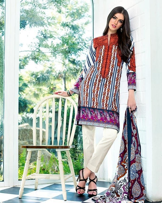 Gul Ahmed White - Trencia With Embellished Neckline & Bunch - 3 Pc Un-stitched Suit - SS # 73