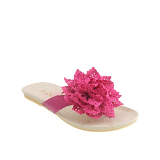 Maya Traders Pink Synthetic Leather Slippers for Women - II17