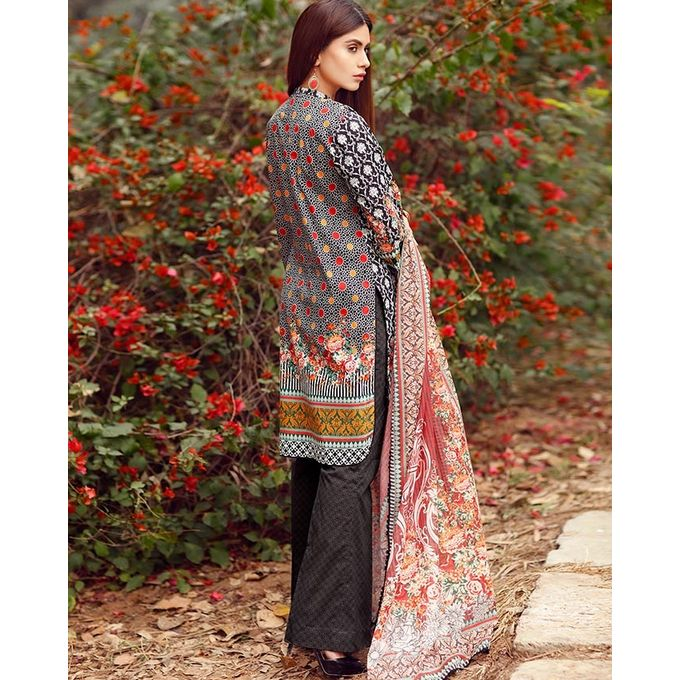 Edenrobe Black 3 Piece Unstitched Premium Designer Embroidered Lawn Collection- 00122922
