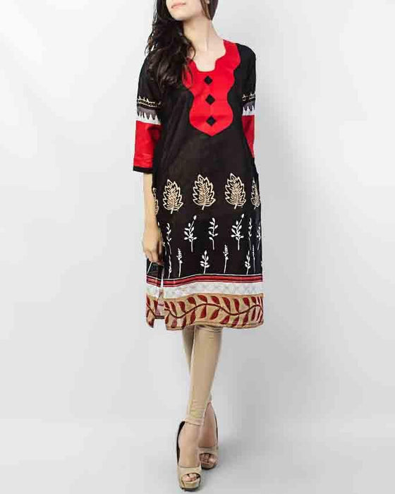 Style Inn Black Lawn Printed Kurta with Red Neck Style