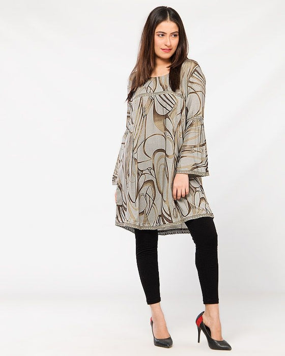 Misbah's Style Grey Malae Lawn Top For Women