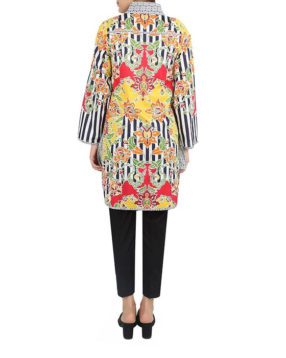 Sapphire Floral Amazon Ready to Wear Lawn Printed Shirt  Multicolor (White& Black)