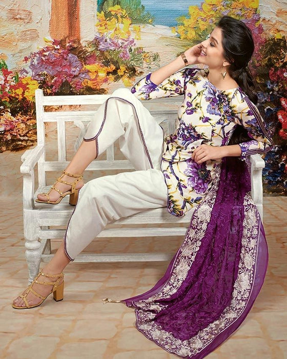 Gul Ahmed Purple Spring/Summer 2017 Collection Premium Printed -PM # 169
