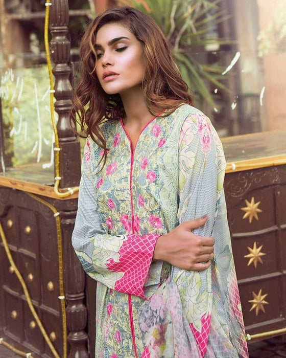 Rangoli Light Sky Blue Mid Summer Cotton Florence Cambric 4 piece