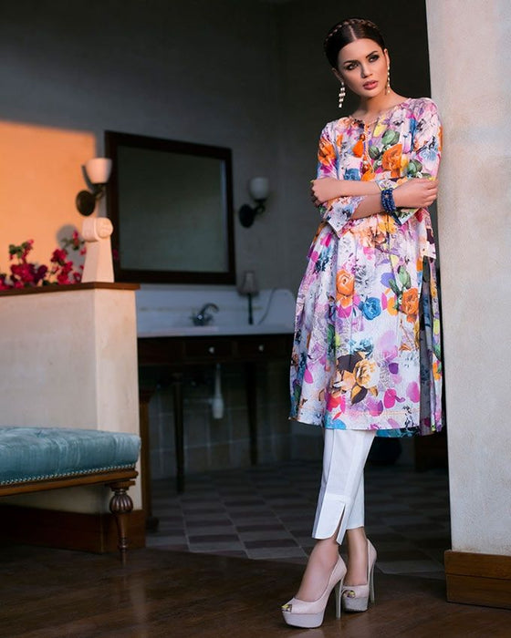 Gul Ahmed White Spring/Summer 2017 Collection Digital Printed Single -SL # 399