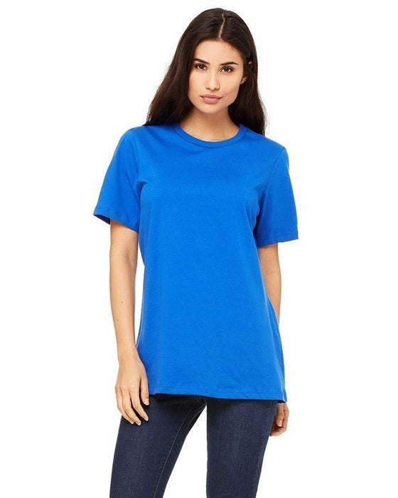 QK Styles Blue Cotton Printed T-Shirt For Women