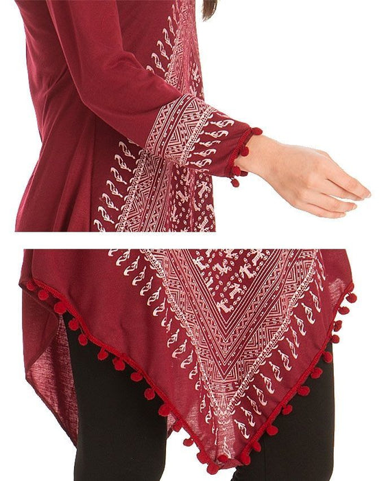 Street Style Maroon Viscose Kurta for Women