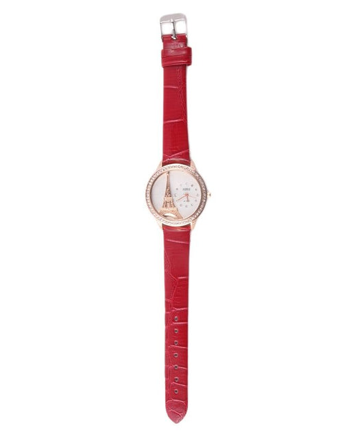 Style and Comfort Light Maroon Leather Watch for Women