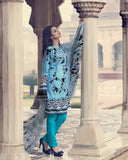 Gul Ahmed Turquoise Spring/Summer 2017 Collection Embroidered La Chiffon-C # 442