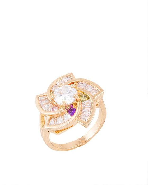 Style and Comfort Golden Metal Zircon Ring For Women - R-02