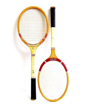 Pair of Wooden Badminton Rackets - Yellow