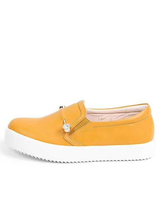 Sapphire Yellow Faux Leather Plimsole for Women