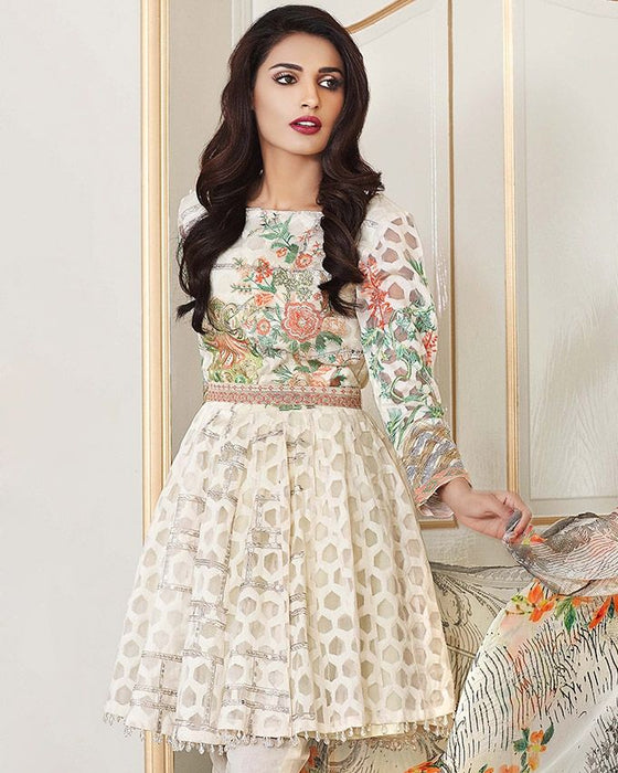 Gul Ahmed Cream Festive Collection 2017 Eid Festive 3 Pc Premium Embroidered Chiffon-FE # 30 Unstitched