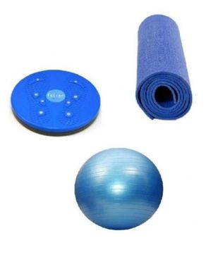 Hotline Pack of 3 - Gym Ball, Yoga Mat & Waist Twisting Disc - Blue