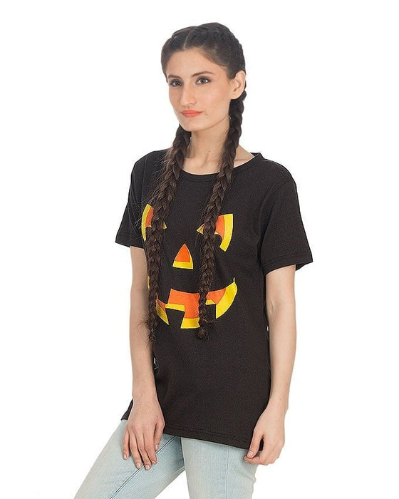 Street Style Black Printed T-Shirt For Women