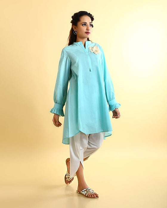Ego Mint Green Mix Cotton Kurti - Full Bloom