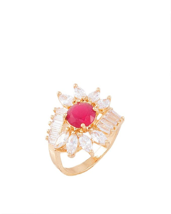 Style and Comfort Golden Metal with Elegant Center Pink Zircon Ring for Women - R-18
