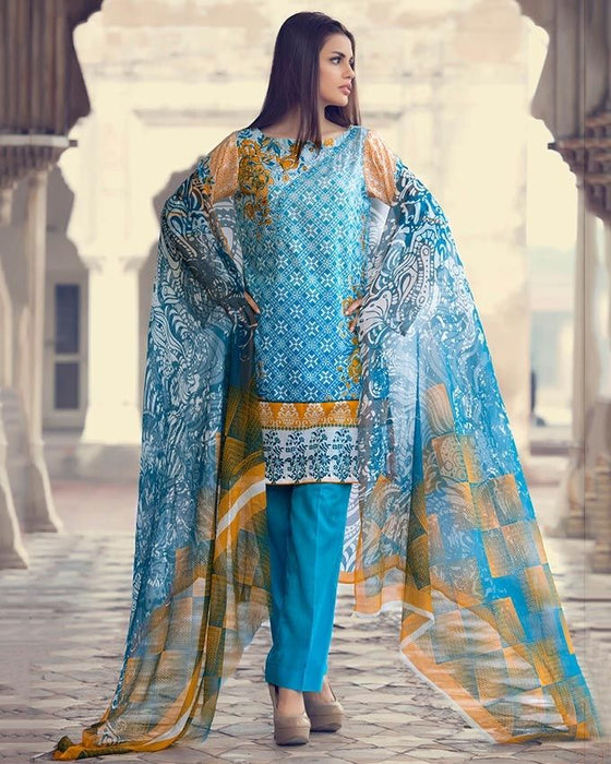 Gul Ahmed Turquoise Spring/Summer 2017 Collection Embroidered La Chiffon-C # 419