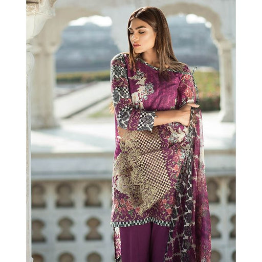 Mausummery Purple Embroidered Lawn Colorful Love